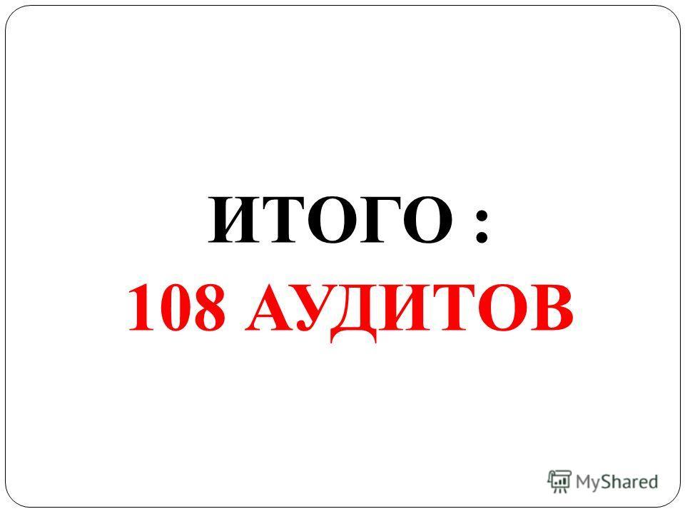 ИТОГО : 108 АУДИТОВ