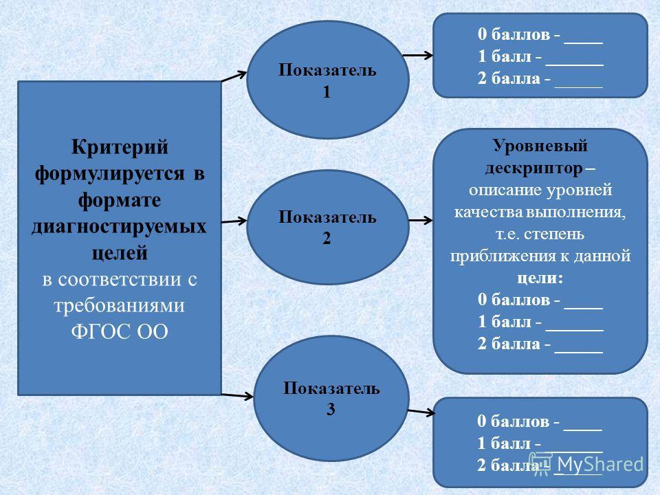 Критерий формулируется в формате диагностируемых целей в соответствии с требованиями ФГОС ОО Показатель 1 Показатель 2 Показатель 3 0 баллов - ____ 1 балл - ______ 2 балла - _____ Уровневый дескриптор – описание уровней качества выполнения, т.е. степ