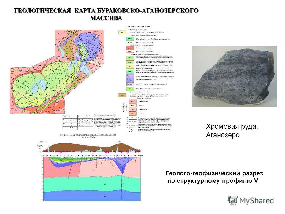 ГЕОЛОГИЧЕСКАЯ КАРТА БУРАКОВСКО-АГАНОЗЕРСКОГО МАССИВА Геолого-геофизический разрез по структурному профилю V Хромовая руда, Аганозеро