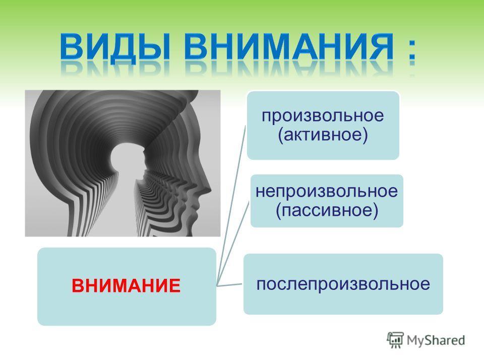 ВНИМАНИЕ произвольное (активное) непроизвольное (пассивное) послепроизвольное