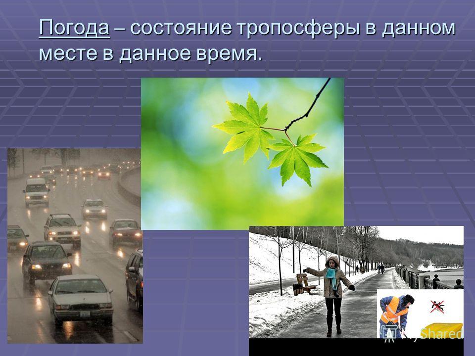 Погода – состояние тропосферы в данном месте в данное время.