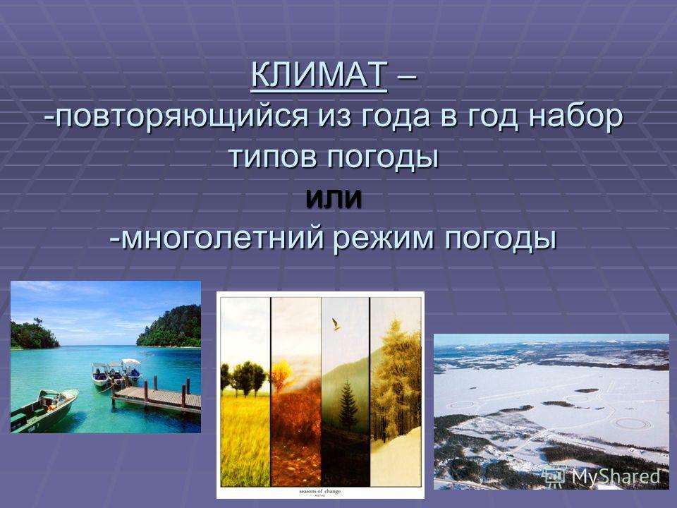 КЛИМАТ – -повторяющийся из года в год набор типов погоды или -многолетний режим погоды