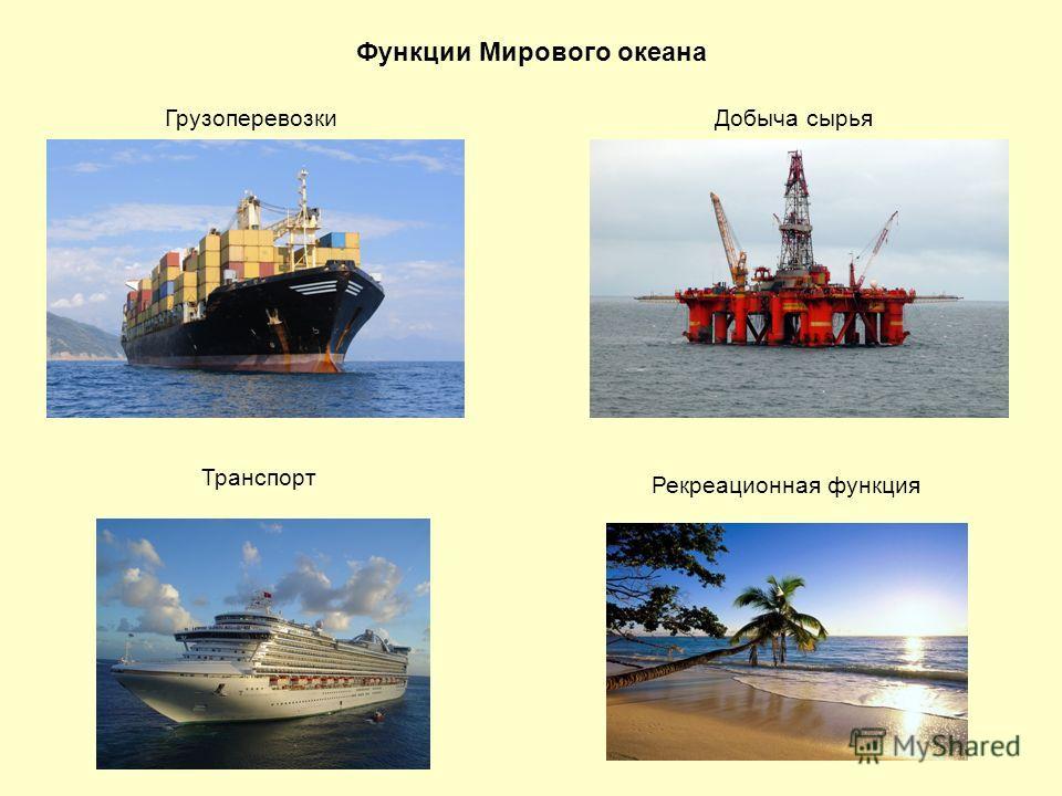 Функции Мирового океана ГрузоперевозкиДобыча сырья Рекреационная функция Транспорт