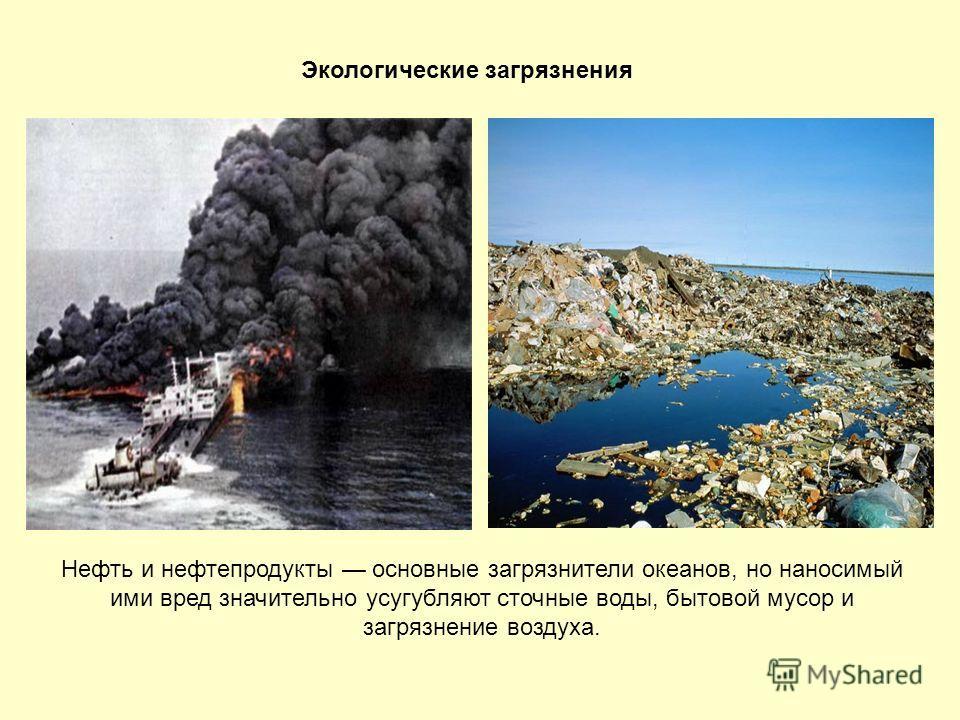 Экологические загрязнения Нефть и нефтепродукты основные загрязнители океанов, но наносимый ими вред значительно усугубляют сточные воды, бытовой мусор и загрязнение воздуха.