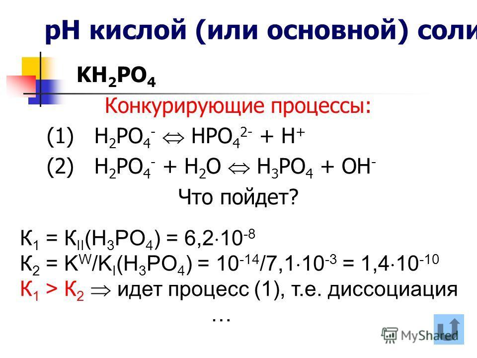 рН кислой (или основной) соли KH 2 PO 4 Конкурирующие процессы: (1) Н 2 РО 4 - НРО 4 2- + Н + (2) Н 2 РО 4 - + Н 2 О Н 3 РО 4 + ОН - Что пойдет? К 1 = К II (H 3 PO 4 ) = 6,2 10 -8 К 2 = K W /K I (H 3 PO 4 ) = 10 -14 /7,1 10 -3 = 1,4 10 -10 К 1 > К 2