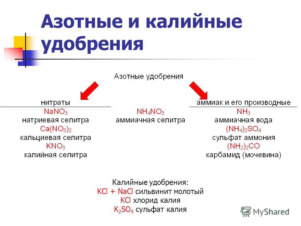 Азотные и калийные удобрения Калийные удобрения: KCl + NaCl сильвинит молотый KCl хлорид калия K 2 SO 4 сульфат калия