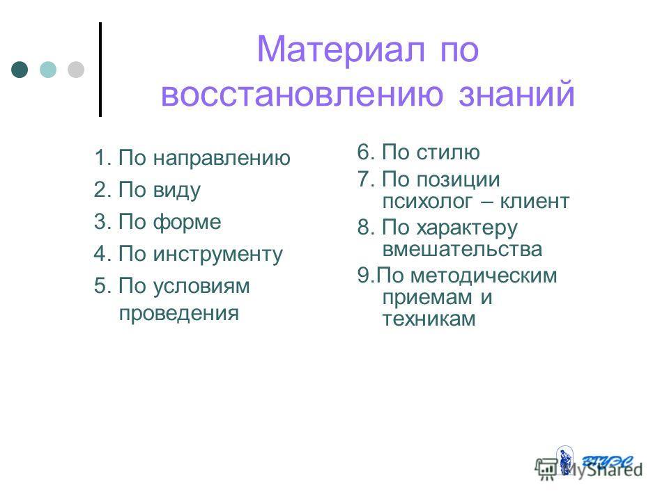 Материал по восстановлению знаний 1. По направлению 2. По виду 3. По форме 4. По инструменту 5. По условиям проведения 6. По стилю 7. По позиции психолог – клиент 8. По характеру вмешательства 9.По методическим приемам и техникам