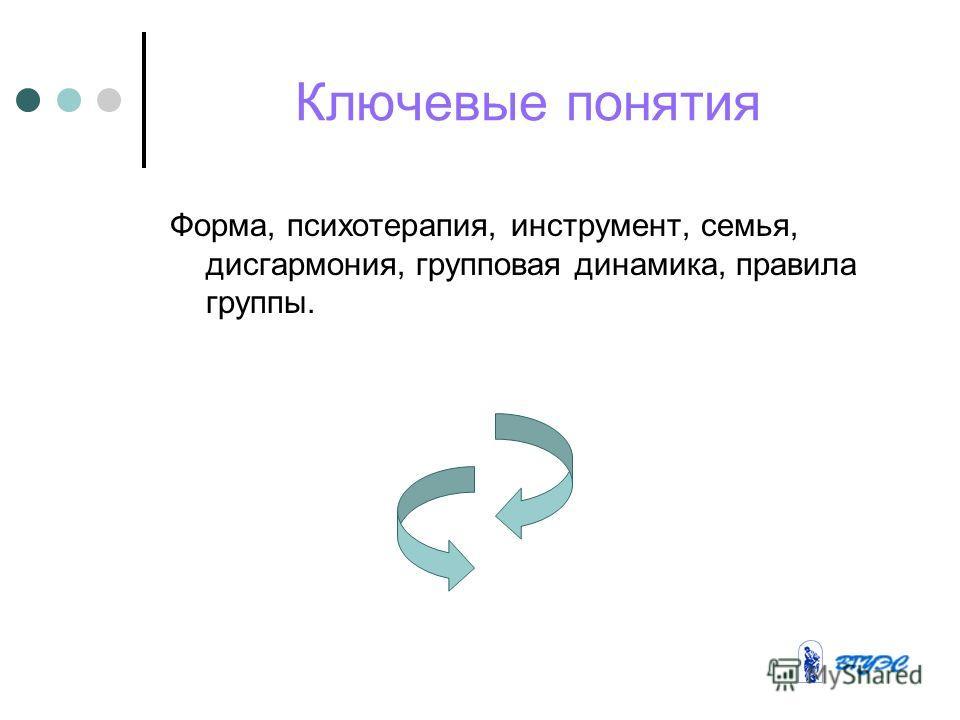 Ключевые понятия Форма, психотерапия, инструмент, семья, дисгармония, групповая динамика, правила группы.