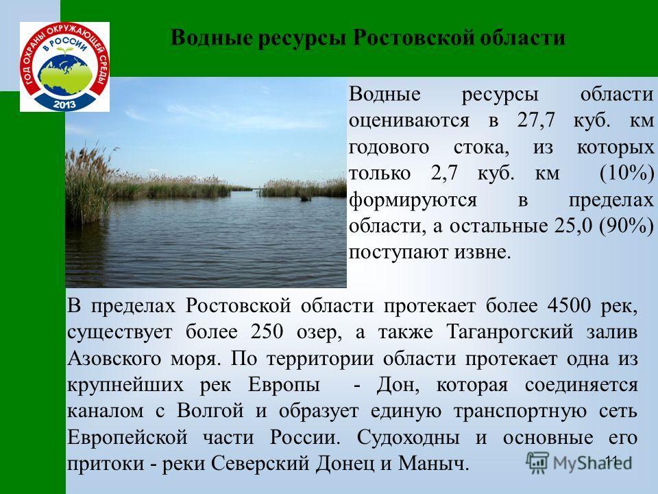11 Водные ресурсы Ростовской области Водные ресурсы области оцениваются в 27,7 куб. км годового стока, из которых только 2,7 куб. км (10%) формируются в пределах области, а остальные 25,0 (90%) поступают извне. В пределах Ростовской области протекает