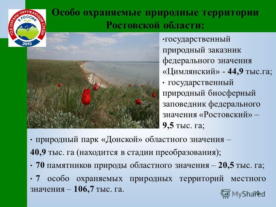 19 Особо охраняемые природные территории Ростовской области: природный парк «Донской» областного значения – 40,9 тыс. га (находится в стадии преобразования); 70 памятников природы областного значения – 20,5 тыс. га; 7 особо охраняемых природных терри