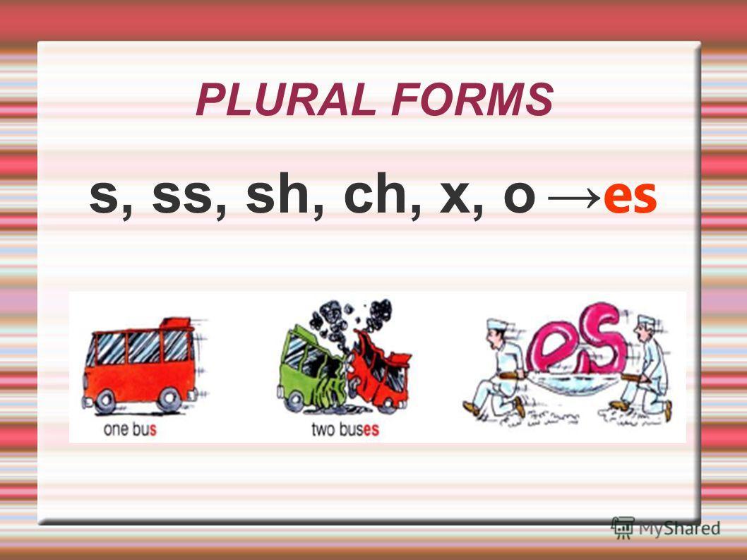 PLURAL FORMS s, ss, sh, ch, x, o es