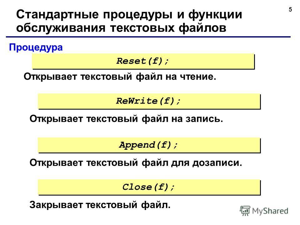 5 Процедура Стандартные процедуры и функции обслуживания текстовых файлов Открывает текстовый файл на чтение. Reset(f); Открывает текстовый файл на запись. ReWrite(f); Открывает текстовый файл для дозаписи. Append(f); Закрывает текстовый файл. Close(