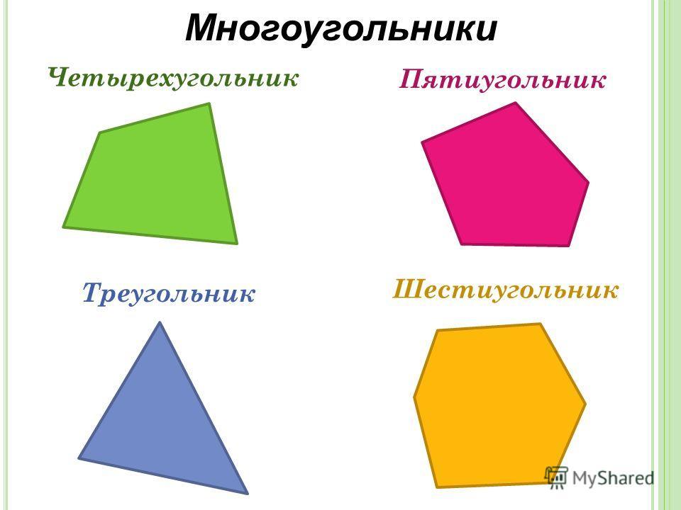 Многоугольники Четырехугольник Пятиугольник Треугольник Шестиугольник