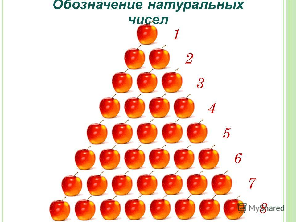 Обозначение натуральных чисел 1 2 3 4 5 6 8 7