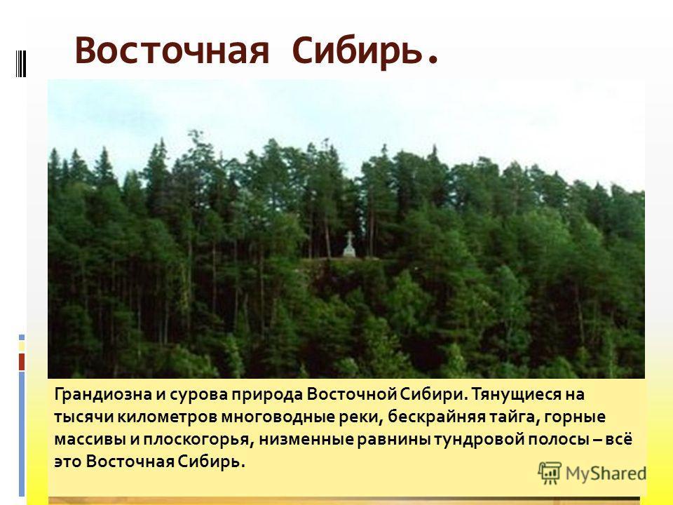 Восточная Сибирь. Мыс Челюскин Становой хребет Река Лена Алмазы Якутии Грандиозна и сурова природа Восточной Сибири. Тянущиеся на тысячи километров многоводные реки, бескрайняя тайга, горные массивы и плоскогорья, низменные равнины тундровой полосы –