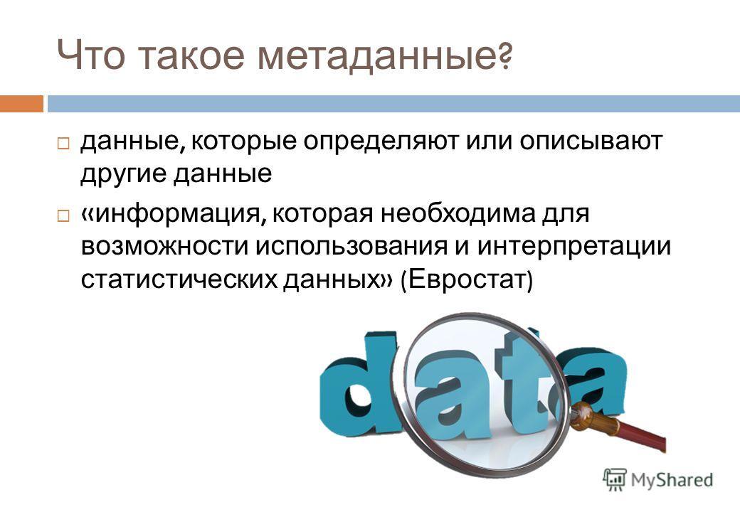 Что такое метаданные ? данные, которые определяют или описывают другие данные « информация, которая необходима для возможности использования и интерпретации статистических данных » ( Евростат )