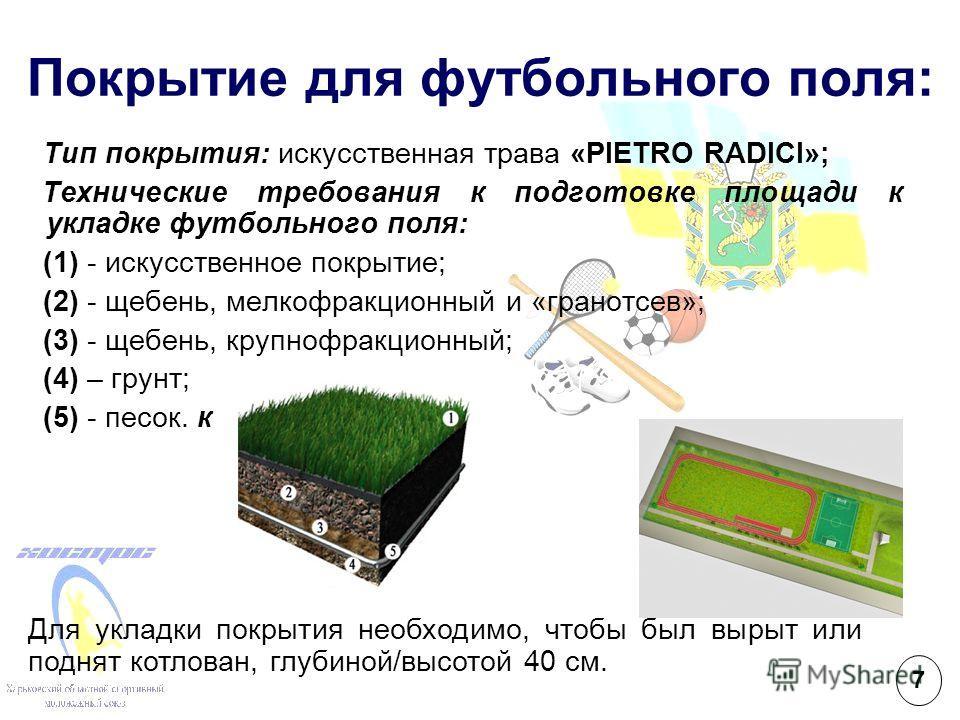 Покрытие для футбольного поля: Тип покрытия: искусственная трава «PIETRO RADICI»; Технические требования к подготовке площади к укладке футбольного поля: (1) - искусственное покрытие; (2) - щебень, мелкофракционный и «гранотсев»; (3) - щебень, крупно