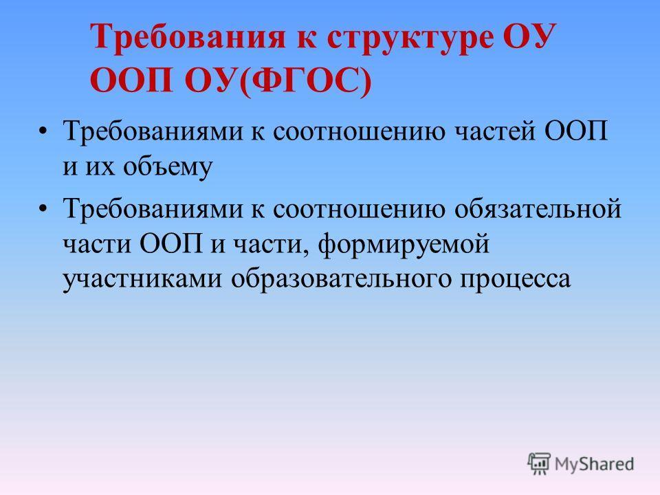 Требования к структуре ОУ ООП ОУ(ФГОС) Требованиями к соотношению частей ООП и их объему Требованиями к соотношению обязательной части ООП и части, формируемой участниками образовательного процесса