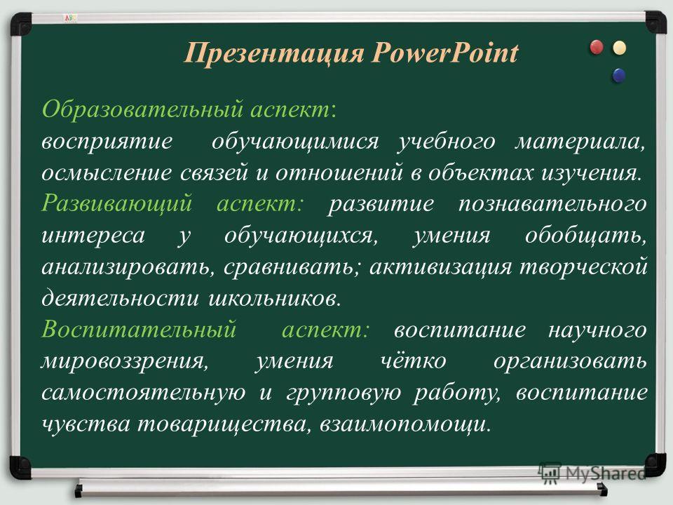 Презентация PowerPoint Образовательный аспект: восприятие обучающимися учебного материала, осмысление связей и отношений в объектах изучения. Развивающий аспект: развитие познавательного интереса у обучающихся, умения обобщать, анализировать, сравнив