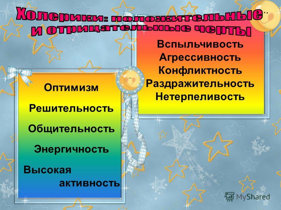 Оптимизм Решительность Общительность Энергичность Высокая активность Вспыльчивость Агрессивность Конфликтность Раздражительность Нетерпеливость