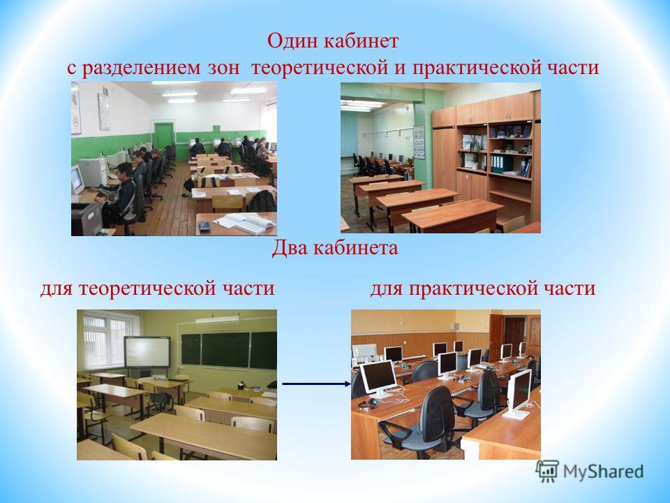 Один кабинет с разделением зон теоретической и практической части Два кабинета для теоретической части для практической части