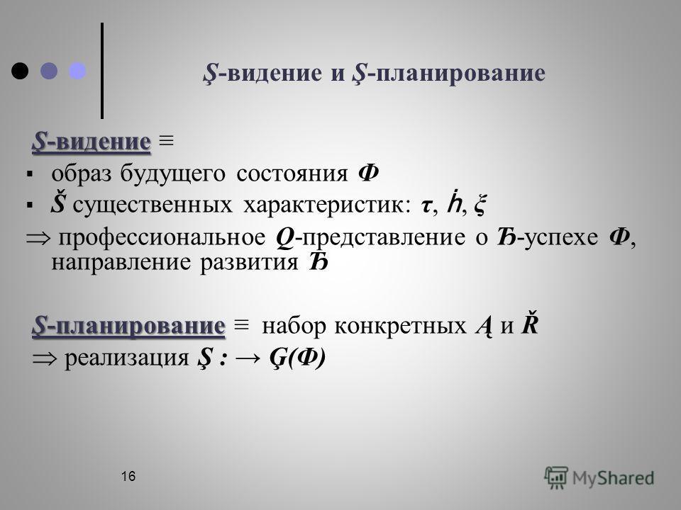 16 Ş-видение и Ş-планирование Ş-видение Ş-видение образ будущего состояния Ф Š существенных характеристик: τ,, ξ профессиональное Q-представление о Ђ-успехе Ф, направление развития Ђ Ş-планирование Ş-планирование набор конкретных Ą и Ř реализация Ş :