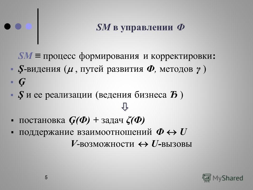 5 SM в управлении Ф SM процесс формирования и корректировки: Ş-видения (, путей развития Ф, методов γ ) Ģ Ş и ее реализации (ведения бизнеса Ђ ) постановка Ģ(Ф) + задач ζ(Ф) поддержание взаимоотношений Ф U V-возможности U-вызовы