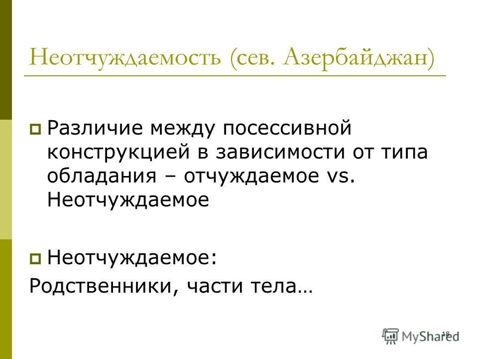 18 Неотчуждаемость (сев. Азербайджан) Различие между посессивной конструкцией в зависимости от типа обладания – отчуждаемое vs. Неотчуждаемое Неотчуждаемое: Родственники, части тела…
