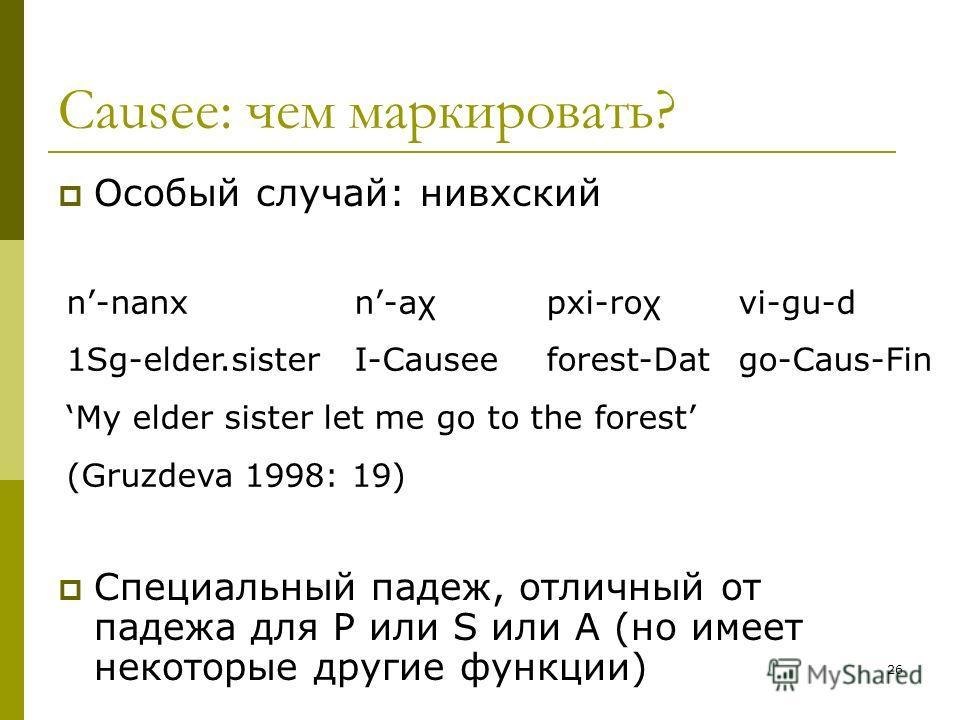 26 Causee: чем маркировать? Особый случай: нивхский Специальный падеж, отличный от падежа для P или S или A (но имеет некоторые другие функции) n-nanx n-aχ pxi-roχ vi-gu-d 1Sg-elder.sister I-Causee forest-Dat go-Caus-Fin My elder sister let me go to