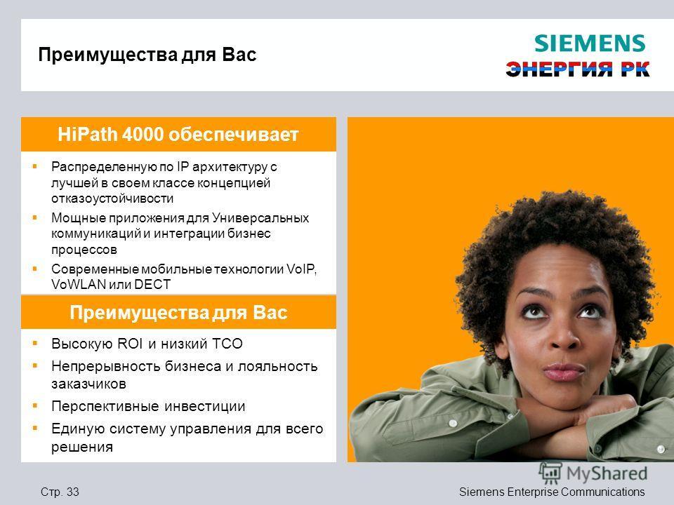 Стр. 33Siemens Enterprise Communications Преимущества для Вас Распределенную по IP архитектуру с лучшей в своем классе концепцией отказоустойчивости Мощные приложения для Универсальных коммуникаций и интеграции бизнес процессов Современные мобильные