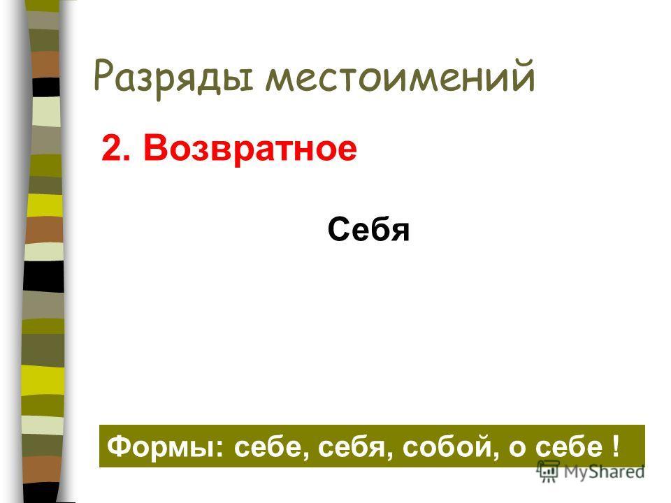 Разряды местоимений Себя 2. Возвратное Формы: себе, себя, собой, о себе !