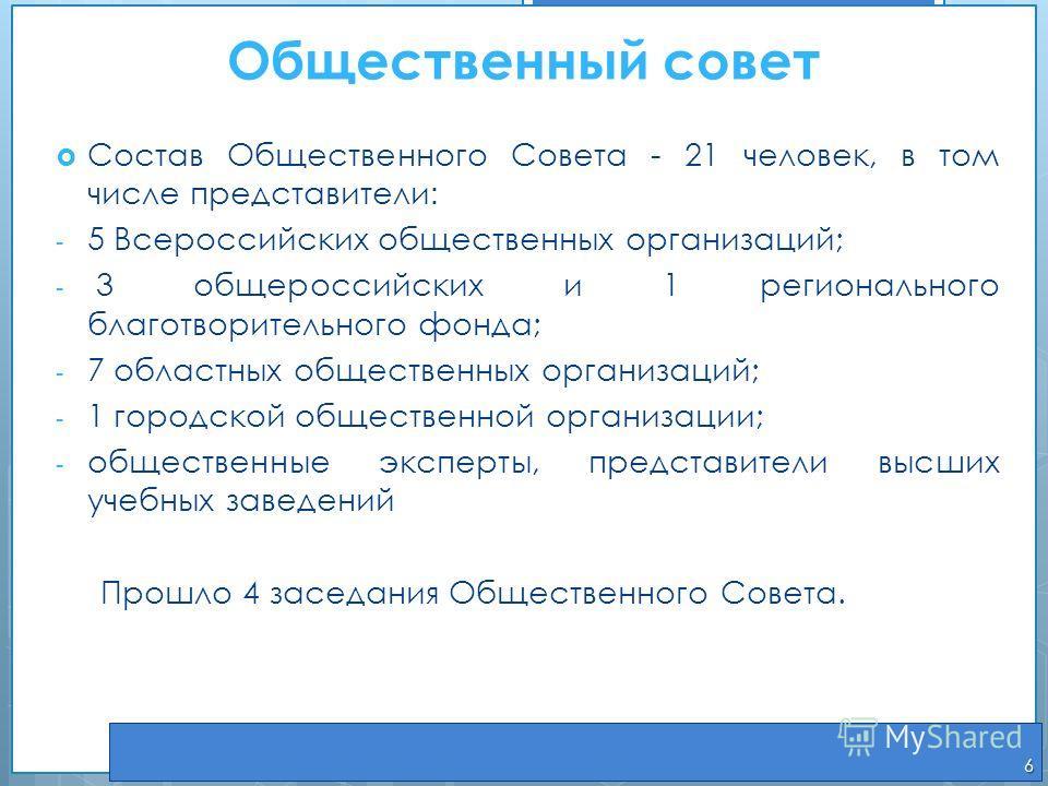 Общественный совет Состав Общественного Совета - 21 человек, в том числе представители : - 5 Всероссийских общественных организаций; - 3 общероссийских и 1 регионального благотворительного фонда; - 7 областных общественных организаций; - 1 городской