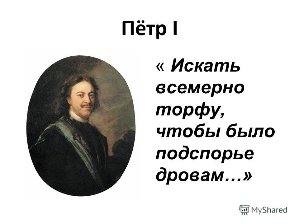 Пётр I « Искать всемерно торфу, чтобы было подспорье дровам…»