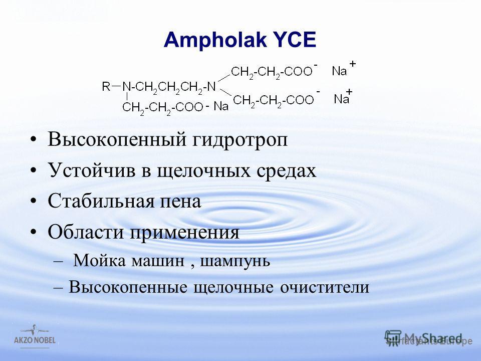 Surfactants Europe /gbk Ampholak YCE Высокопенный гидротроп Устойчив в щелочных средах Стабильная пена Области применения – Мойка машин, шампунь –Высокопенные щелочные очистители