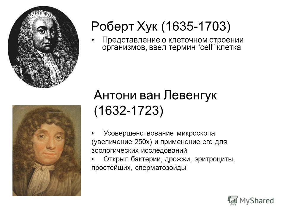 Роберт Хук (1635-1703) Представление о клеточном строении организмов, ввел термин cell клетка Антони ван Левенгук (1632-1723) Усовершенствование микроскопа (увеличение 250х) и применение его для зоологических исследований Открыл бактерии, дрожжи, эри