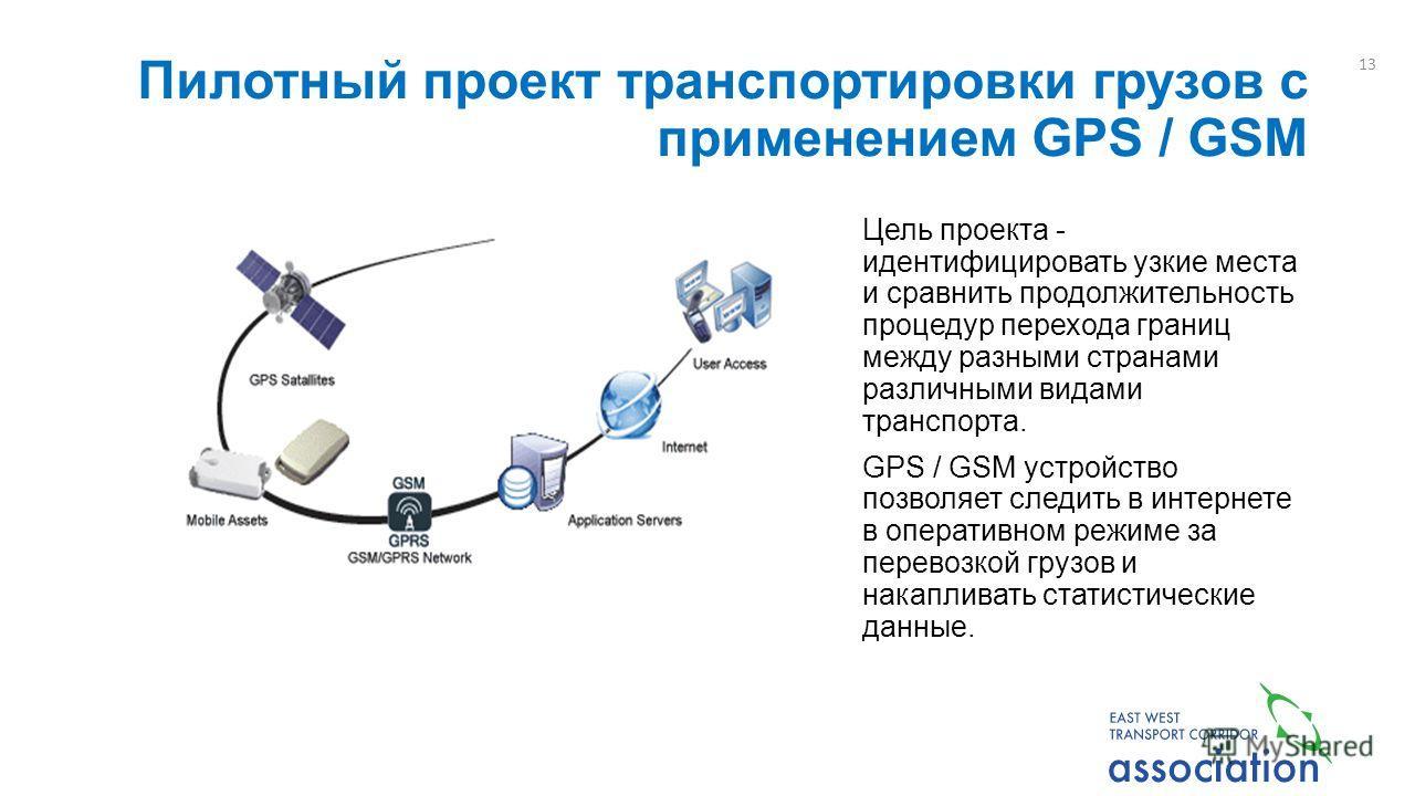 Пилотный проект транспортировки грузов с применением GPS / GSM Цель проекта - идентифицировать узкие места и сравнить продолжительность процедур перехода границ между разными странами различными видами транспорта. GPS / GSM устройство позволяет следи