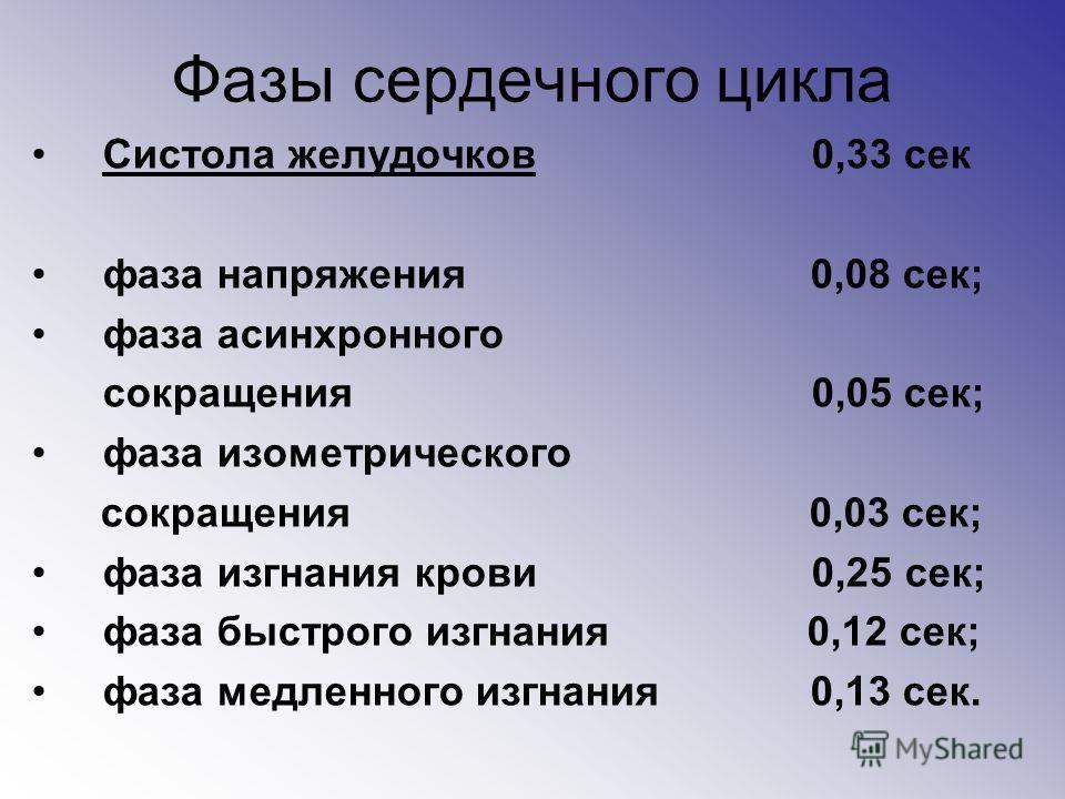 Фазы сердечного цикла Систола желудочков 0,33 сек фаза напряжения 0,08 сек; фаза асинхронного сокращения 0,05 сек; фаза изометрического сокращения 0,03 сек; фаза изгнания крови 0,25 сек; фаза быстрого изгнания 0,12 сек; фаза медленного изгнания 0,13
