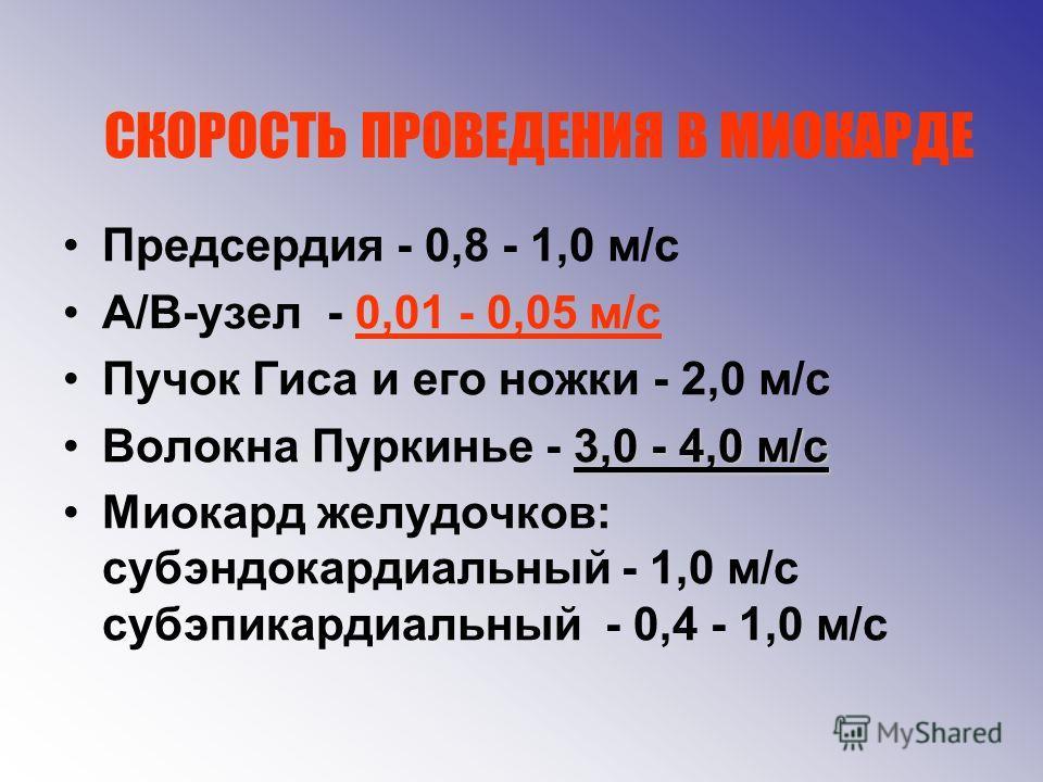 СКОРОСТЬ ПРОВЕДЕНИЯ В МИОКАРДЕ Предсердия - 0,8 - 1,0 м/с А/В-узел - 0,01 - 0,05 м/с Пучок Гиса и его ножки - 2,0 м/с 3,0 - 4,0 м/сВолокна Пуркинье - 3,0 - 4,0 м/с Миокард желудочков: субэндокардиальный - 1,0 м/с субэпикардиальный - 0,4 - 1,0 м/с