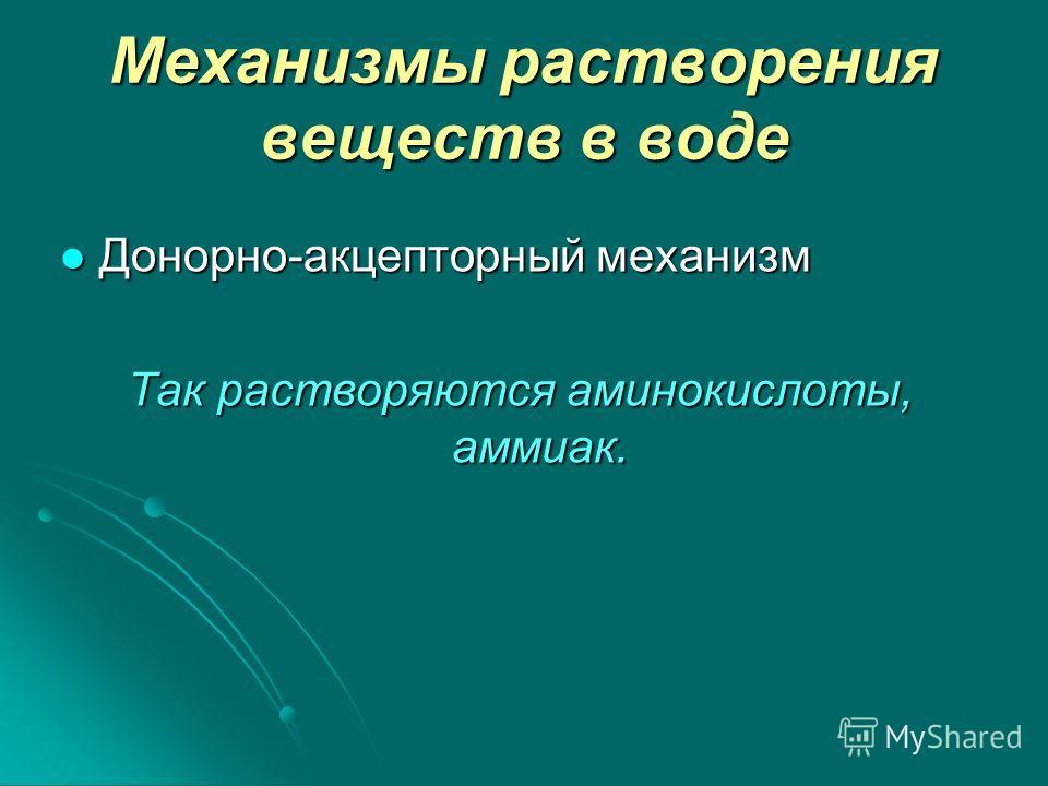 Механизмы растворения веществ в воде Донорно-акцепторный механизм Донорно-акцепторный механизм Так растворяются аминокислоты, аммиак.