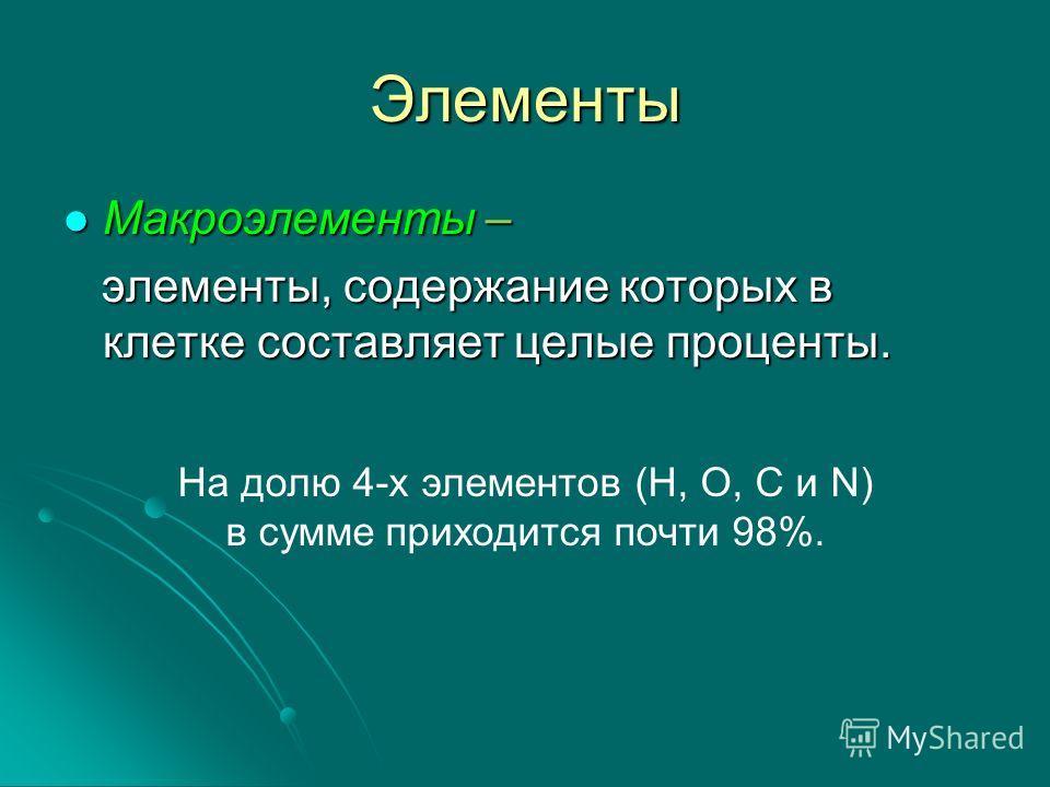 Элементы Макроэлементы – элементы, содержание которых в клетке составляет целые проценты. На долю 4-х элементов (H, O, C и N) в сумме приходится почти 98%.