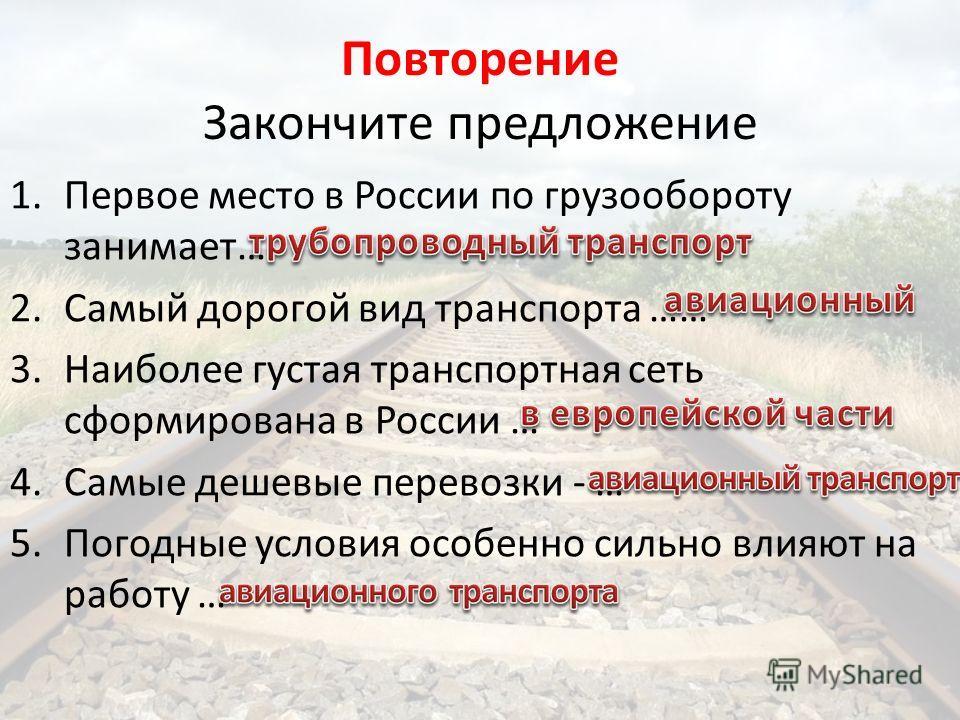 Повторение Закончите предложение 1.Первое место в России по грузообороту занимает… 2.Самый дорогой вид транспорта …… 3.Наиболее густая транспортная сеть сформирована в России … 4.Самые дешевые перевозки - … 5.Погодные условия особенно сильно влияют н