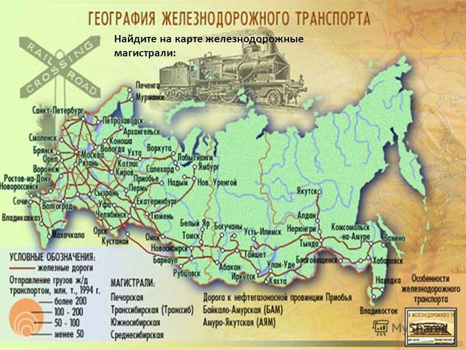 Найдите на карте железнодорожные магистрали: