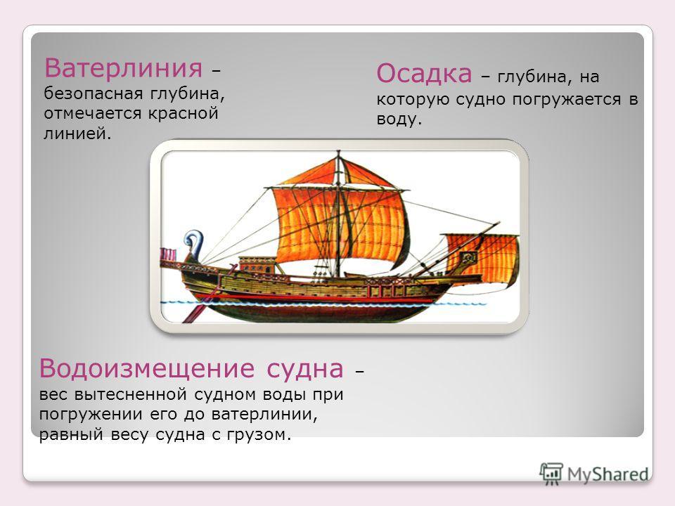 Осадка – глубина, на которую судно погружается в воду. Ватерлиния – безопасная глубина, отмечается красной линией. Водоизмещение судна – вес вытесненной судном воды при погружении его до ватерлинии, равный весу судна с грузом.