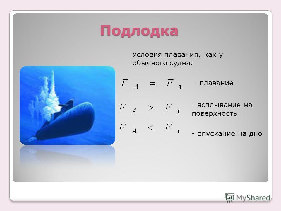Подлодка Условия плавания, как у обычного судна: - плавание - всплывание на поверхность - опускание на дно