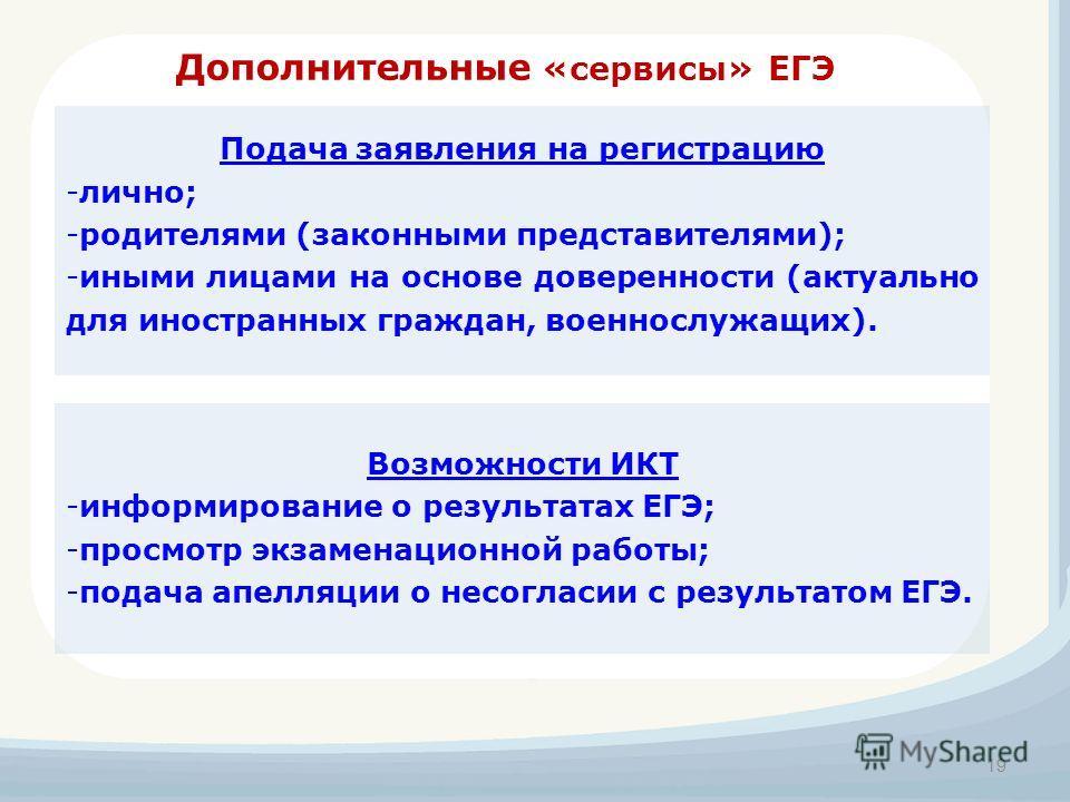 Дополнительные «сервисы» ЕГЭ 19 Подача заявления на регистрацию -лично; -родителями (законными представителями); -иными лицами на основе доверенности (актуально для иностранных граждан, военнослужащих). Возможности ИКТ -информирование о результатах Е