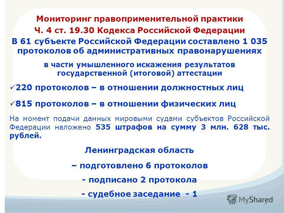 В 61 субъекте Российской Федерации составлено 1 035 протоколов об административных правонарушениях в части умышленного искажения результатов государственной (итоговой) аттестации 220 протоколов – в отношении должностных лиц 815 протоколов – в отношен