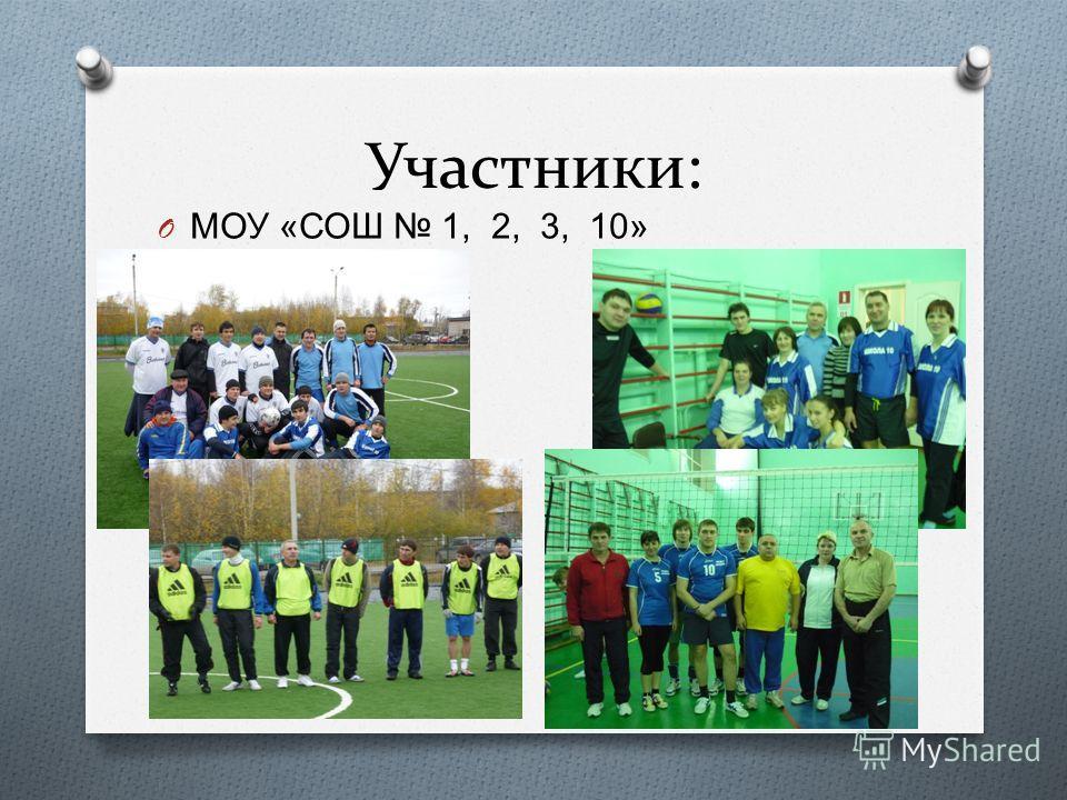 Участники: O МОУ « СОШ 1, 2, 3, 10»