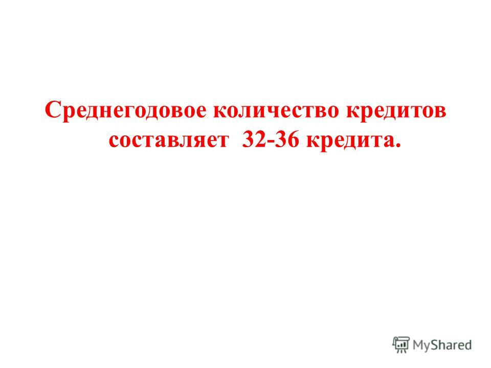 Среднегодовое количество кредитов составляет 32-36 кредита.