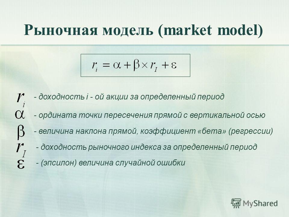 Рыночная модель (market model) - доходность i - ой акции за определенный период - ордината точки пересечения прямой с вертикальной осью - величина наклона прямой, коэффициент «бета» (регрессии) - доходность рыночного индекса за определенный период -