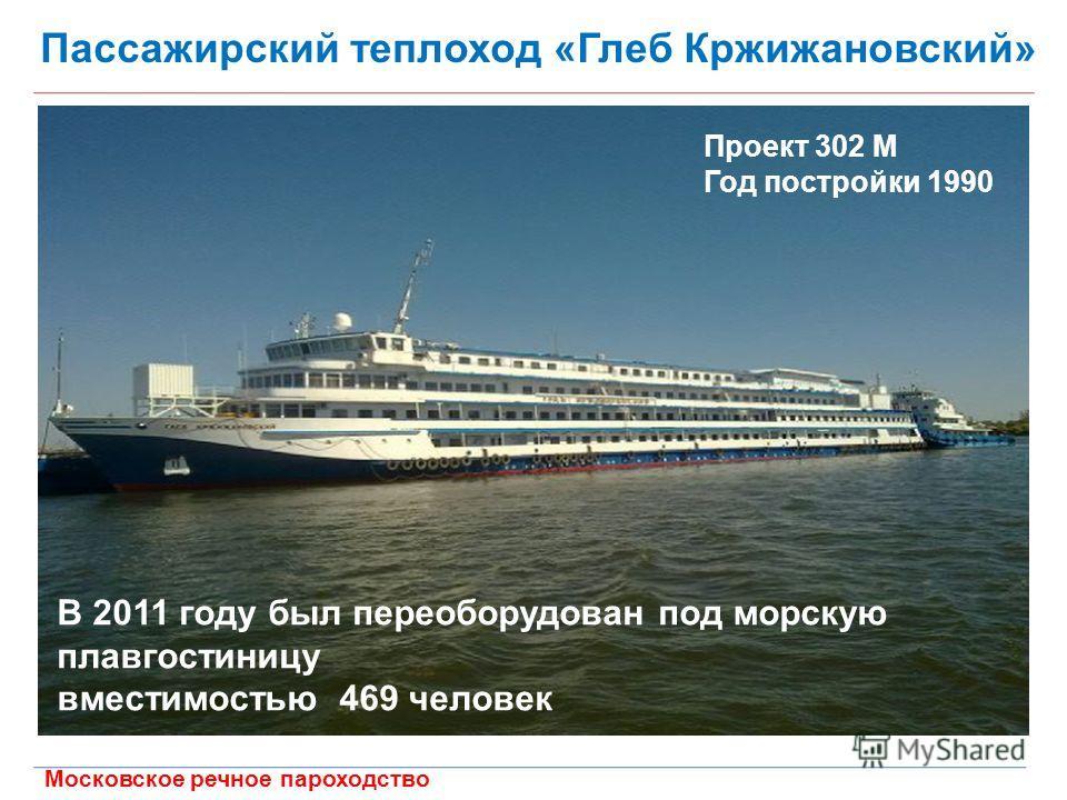 Московское речное пароходство Пассажирский теплоход «Глеб Кржижановский» Проект 302 М Год постройки 1990 В 2011 году был переоборудован под морскую плавгостиницу вместимостью 469 человек